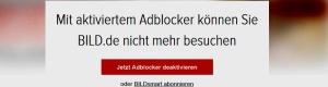 BILD Zeitung blockt Adblock Nutzer im Internet