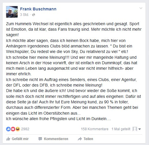 Frank Buschmann auf Facebook (Screenshot: 11.05.2016)