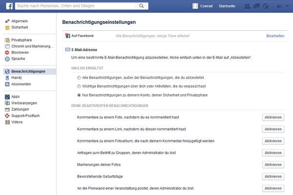 Facebook: Benachrichtigungen per Mail deaktivieren