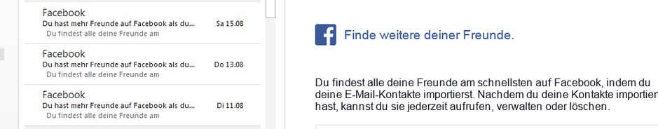 Facebook: E-Mail-Spam