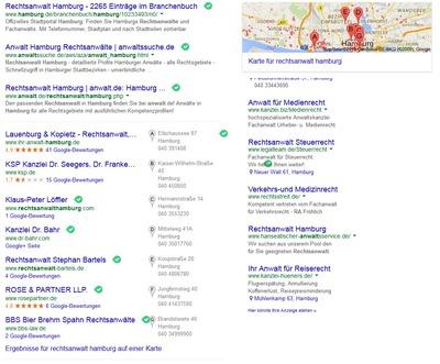 """Erfolgreiches SEO: Google Ergebnisse zur Suche """"Rechtsanwalt Hamburg"""""""